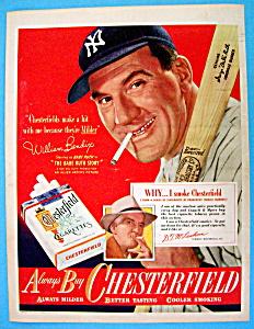Vintage Ad:1948 Chesterfield Cigarette w/William Bendix (Image1)