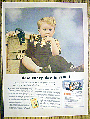 1935 Cream Of Wheat Cereal With Little Boy Sitting
