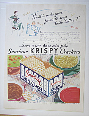 1935 Sunshine Krispy Crackers with Bowls Of Soup  (Image1)