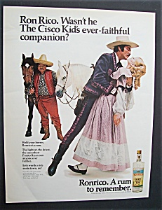 1969 Ronrico Puerto Rican Rum With Man & Woman Dancing