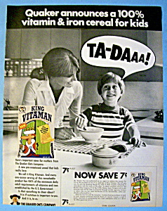 Vintage Ad: 1970 Quaker King Vitaman Cereal (Image1)