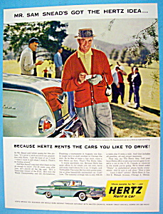 Vintage Ad: 1958 Hertz Rent A Car with Sam Snead (Image1)