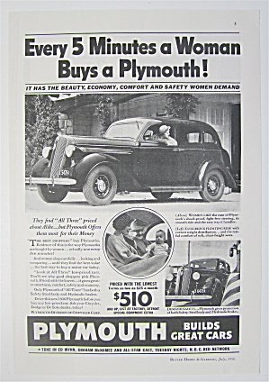 1936 Plymouth with Woman Backing Up Car  (Image1)