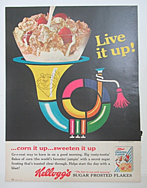 1965 Kellogg's Frosted Flakes w/Bowl Of Cereal on Horn (Image1)