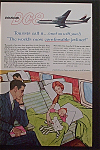 1959 Douglas Dc-8 W/husband Looking At Wife & Child