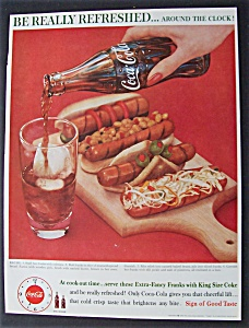 1960 Coca-cola (Coke) With A Couple Of Hot Dogs