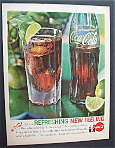 1962 Coca Cola (Coke) With Glass Of Soda With Lime