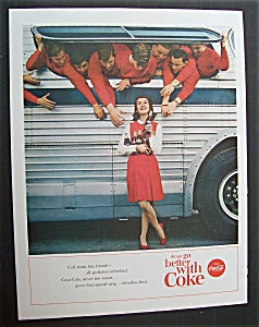 1963 Coca Cola (Coke) With A Girl Standing By A Bus