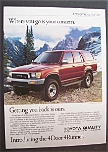 Vintage Ad: 1989 Toyota 4 Door 4 Runner (Image1)