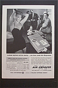 1959 Air Express Airlines With Woman In Bathing Suit