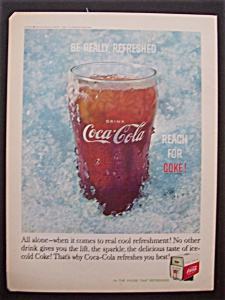 1960 Coca-Cola (Coke) w/Glass of Coke Surrounded By Ice (Image1)