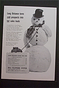 1959 Bell Telephone System W/ Snowman Talking On Phone
