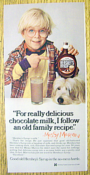1981 Hershey Syrup With Messy Marvin