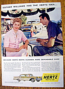 Vintage Ad: 1958 Hertz Rent A Car With Esther Williams