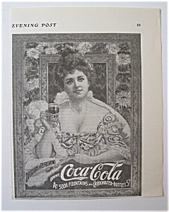 1904 Coca Cola With Woman Holding Glass Of Soda