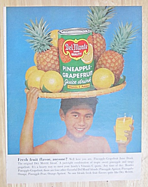 1962 Del Monte Pineapple/grapefruit Juice W/boy & Glass