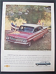 1959 Chevrolet Bel Air With Family On Rowboat