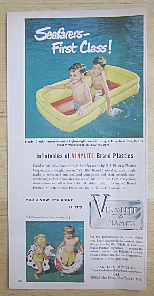 1950 Vinylite Inflatables with Boys in Inflatable Raft  (Image1)