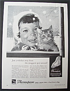 1959 Thermopane Insulating Glass w/Kitten Held by Girl (Image1)