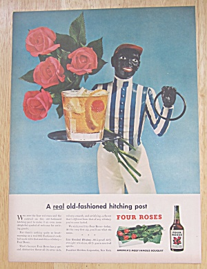 1947 Four Roses Whiskey w/ Old Fashioned Hitching Post (Image1)