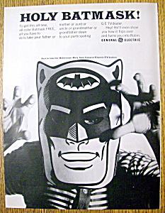 Vintage Ad: 1966 General Electric TV Dealer w/ Bat Mask (Image1)