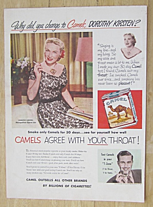1952 Camel Cigarettes With Opera Star Dorothy Kirsten