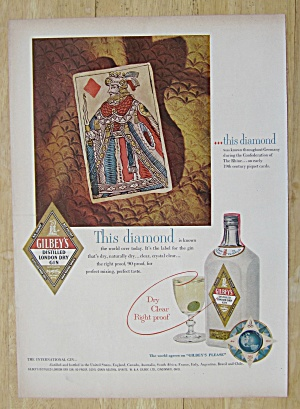 1952 Gilbey's Gin With A Diamond King Card