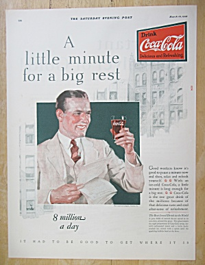 1928 Coca-Cola (Coke) with Man Holding a Glass of Coke (Image1)