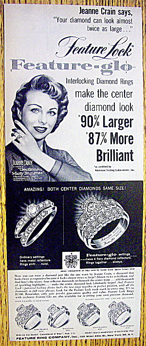 1955 Feature Glo Diamond Rings W/ Jeanne Crain