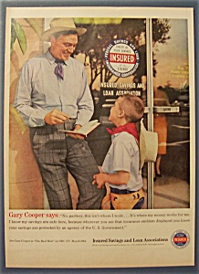 Vintage Ad: 1961 Insured Savings & Loan W/gary Cooper
