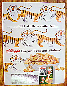Vintage Ad:1954 Kellogg Frosted Flakes W/tony The Tiger