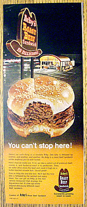 1967 Arby's Restaurant With Roast Beef Sandwich