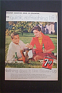 1959 7 Up (Seven Up) with Man & Woman Sitting in Grass (Image1)