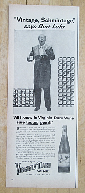 1955 Virginia Dare Wine With Bert Lahr