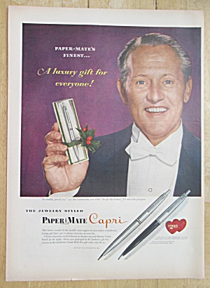 1955 Paper-mate Pens With Art Linkletter Holding A Pen