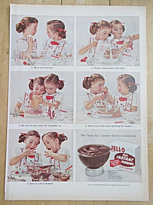 1955 Jell-O Instant Pudding with Twin Girls  (Image1)