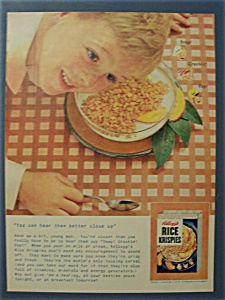 1955 Kellogg's Rice Krispies Cereal w/Boy Listening (Image1)