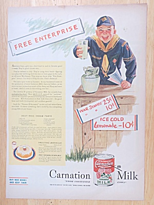 1945 Carnation Evaporated Milk With Boy Scout & Glass