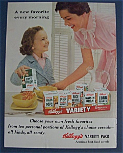 1955 Kellogg's Variety Pack W Little Girl & Cereal