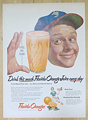 1952 Florida Orange Juice with Man & Glass of Juice (Image1)