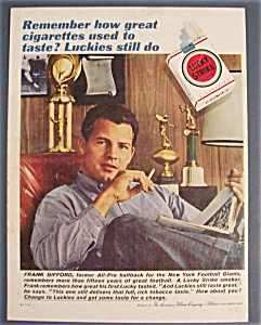 1961 Lucky Strike Cigarette With Halfback Frank Gifford