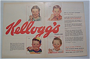 1954 Kellogg's Cereal W/4 Children By Norman Rockwell