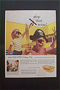 1959 Insulite Ceiling Tile w/ 2 Boys Dressed as Pirates (Image1)