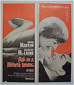 1961 Movie Ad For All In A Night's Work