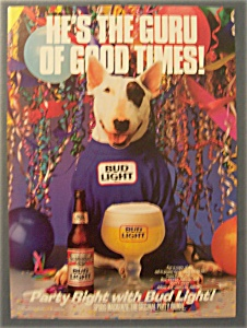 1988 Bud Light Beer Ad With Spuds Mackenzie