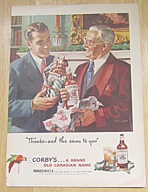 1947 Corby Whiskey W/men Opening Gifts From Each Other
