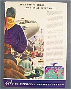 1941 Pan American Airways Ad With People & Plane