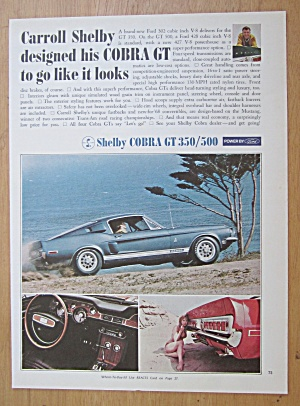 1968 Shelby With The Cobra Gt 350/500