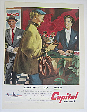 1952 Capital Airlines With Woman Paying For Ticket