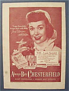 Vintage Ad:1948 Chesterfield Cigarettes With Jane Wyman